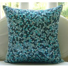 Luxury Blue Pillow Covers 16x16 Silk Pillow by TheHomeCentric
