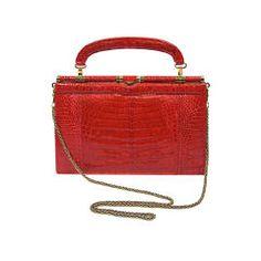 VINTAGE RED & GOLD CROCODILE HAND BAG