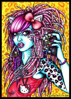 Hello kitty by *megoboom on deviantART Ballpoint Pen Art, Hello Kitty Wallpaper, Female Friends, Cute Characters, Amazing Art, Awesome, Artsy Fartsy, Cool Art, Beast