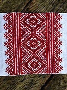 FATHER'S DAY SALE 200x30cm Ukrainian RUSHNYK Hand satin-stith Embroidered Towel Red Black Slavic wedding decor