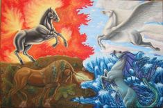 View the Gallery of Viktoria Verebelyi - Surrealistic and Realistic Paintings and Drawings Unicorn Pictures, Horse Pictures, Majestic Horse, Beautiful Horses, Magic Design, A Level Art, Mythological Creatures, Fan Art, Magic Art