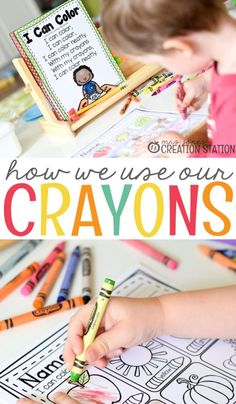 Teach toddler, preschool, prek, kindergarten and first grade learners how to use their crayons. Perfect for introducing school supplies at back to school for the beginning of the school year. A great resource for teachers and homeschool parents. Back To School Activities, Kindergarten Activities, Motor Activities, School Ideas, Preschool Lesson Plans, Toddler Preschool, Toddler Learning, Toddler Activities, Beginning Of The School Year