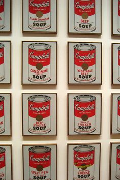 """Campbell's Soup Cans, 1962  Synthetic polymer paint on thirty-two canvases, Each canvas 20 x 16"""" (50.8 x 40.6 cm).   Andy Warhol, American, 1928-1987    When Warhol first exhibited Campbell's Soup Cans, sometimes referred to as 32 Campbell's Soup Cans, e campbells soup"""