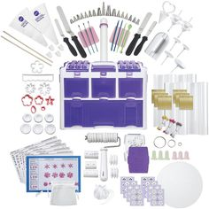Wilton Ultimate Professional Cake Decorating Set ($245) ❤ liked on Polyvore featuring home, kitchen & dining, kitchen gadgets & tools, kitchen, wilton tool caddy, angle cutter, embossed rolling pin, cake tool caddy and wilton decorating tips