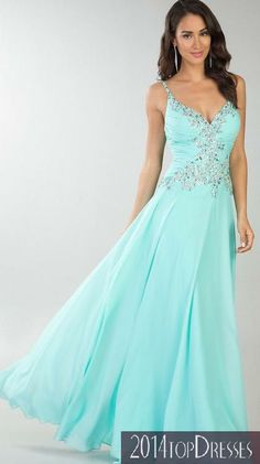 $159.99 Fashion Natural Light Sky Blue Chiffon A-Line Evening Dress In Stock top2014ds17491 Love it, but different color.