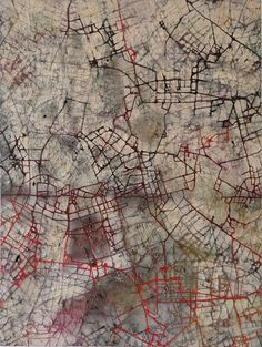 Stanza, City of Dreams - British Abstract art oil painting cityscape mapping red black, 2014 Abstract Landscape Painting, Abstract Oil, Landscape Paintings, Abstract Paintings, Dream City, Urban Landscape, Art Oil, Art Gallery, Red Black