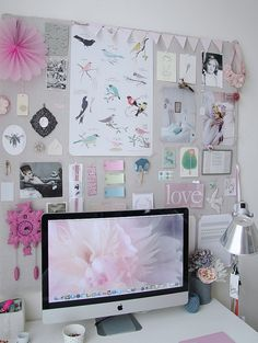 lovely office space by irideeën, via Flickr would be nice to have a mood board behind computer in studio!