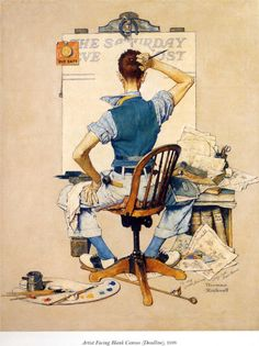Artist Facing Blank Canvas - Norman Rockwell - WikiArt.org