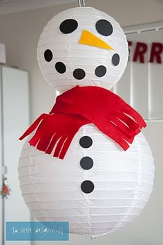Snowman made out of lanterns...super easy to make!