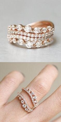 CZ Elegant Rose Gold Wave Tiara Engagement Ring Set Sterling Silver...pinned by ♥ wootandhammy.com, thoughtful jewelry.