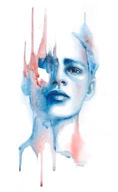 Born to be blue — Monica Loya Watercolor Art Diy, Watercolor Portraits, Watercolor Paintings, Watercolors, Depression Art, Social Media Art, Hipster Art, Ap Art, Art Plastique