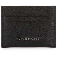 Givenchy Pandora Leather Card Holder ($260) ❤ liked on Polyvore featuring bags, wallets, black, givenchy wallet, leather wallets, logo bags, real leather bags and 100 leather wallet