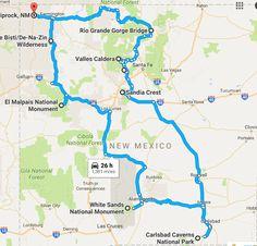 Take This Road Trip To See 9 Natural Wonders Of New Mexico - santa fe - Consejos para Viajes New Mexico Map, New Mexico Road Trip, Travel New Mexico, Arizona Road Trip, Mexico Vacation, Tennessee Vacation, Italy Vacation, Cruise Vacation, Disney Cruise