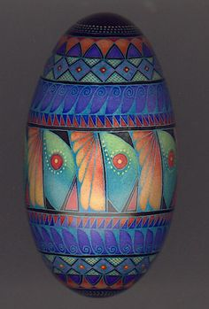 Pysanky goose egg by mark e malachowski. Love his use of color and contemporary designs