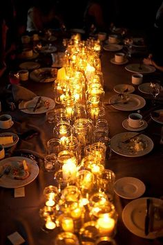 Evening Glow Inspiration - save those jelly and mason jars and just add candles