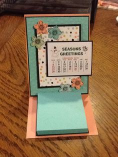 Easel calendar and desk post-it card from this month's club