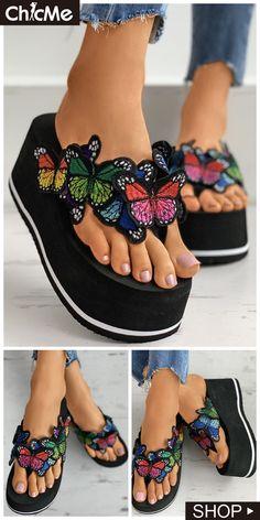 Butterfly Pattern Toe Post Wedge Heeled Sandals Heeled Sandals, Wedge Heels, Hype Shoes, Beautiful Gif, Butterfly Pattern, Womens Fashion Online, Fashion Photo, Amazing Women, Footwear
