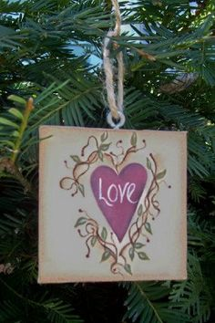 Valentine Heart Canvas Ornament Basket Tie-Handpainted