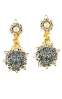 Shinde Lion Drop Earrings by Fenton - Moda Operandi