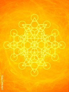 Art Print of Sacred Geometry in bright orange solar plexus chakra yellow sun power