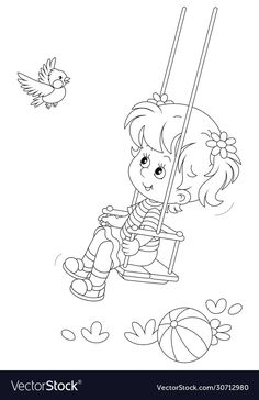 Colouring Pages, Coloring Sheets, Coloring Books, Girl Swinging, Girl Clipart, Art Drawings Sketches Simple, Clipart Black And White, Paper Embroidery, Drawing Practice