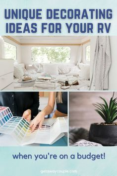 Now that you're ready to hit the road traveling, you've found yourself on the hunt for some unique RV decorating ideas. RV makeover on a budget. Does your camper run like a champ but could use some added pizazz and style to make it feel more like home? Look no further than our list of ways to decorate your home on wheels easily. Camper ideas! Diy Projects Cans, Diy Rv, Rv Makeover, Black Cabinets, Light Covers, Drawer Handles, House On Wheels, Rv Living
