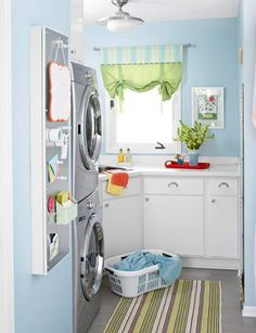 blue laundry room ideas 20 Small Laundry Room Ideas : White and Clean Solutions