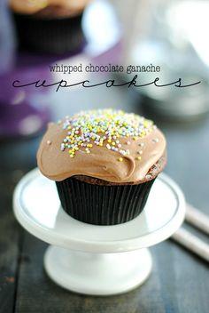 Whipped Chocolate Ganache Cupcakes (Something Swanky) Cupcakes Au Cholocat, Cookies Cupcake, Yummy Cupcakes, Cupcake Cakes, Cupcake Emoji, Disney Cupcakes, Raspberry Cupcakes, Cheesecake Cupcakes, Vanilla Cupcakes