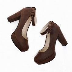 Fashion and Sweet Buckle Embellished Thick Heel Design Women's Pumps