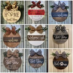 Wooden Door Signs, Diy Wood Signs, Wooden Door Hangers, Wooden Doors, Vinyl Crafts, Wood Crafts, Crafts To Sell, Fun Crafts, Circle Crafts