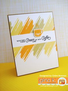 I used the GKD set Tiny textures with a selection of GKD inks to create the fun border. Coffee Cards, Card Patterns, Card Sketches, Watercolor Cards, Cool Cards, Homemade Cards, Stampin Up Cards, Making Ideas, Cardmaking