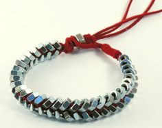Hexnut leather bracelet silver and black. di pistachiolove su Etsy