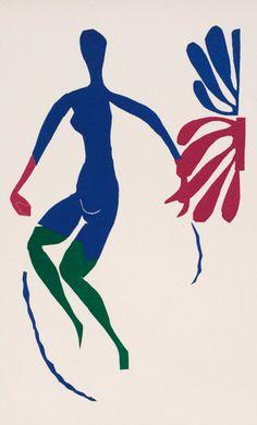 By Henri Matisse (1869-1954), 1953, Nu bleu au bas verts, Atelier Mourlot, Paris.
