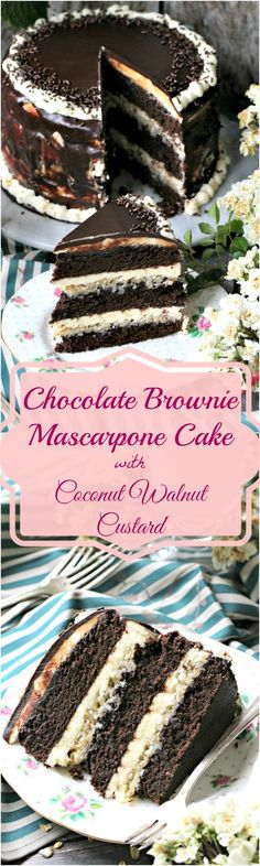 An indulgent and sweet homemade chocolate brownie cake, with layers of vanilla mascarpone buttercream, coconut walnut custard and chocolate ganache. Chocolate Brownie Cake, Chocolate Desserts, Chocolate Chocolate, Just Desserts, Delicious Desserts, Cupcakes, Cupcake Cakes, Mascarpone Cake, Cake Recipes