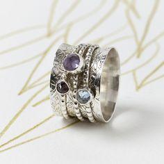 Handmade Gemstone Silver Spinning Ring | Charlotte's Web