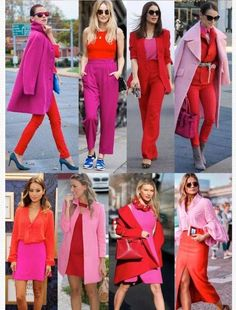 Red and pink color blocking. Loving each look from casual to dress style. I wi Red and pink color blocking. Loving each look from casual to dress style. I wi Colour Combinations Fashion, Color Combinations For Clothes, Fashion Colours, Colorful Fashion, Mode Outfits, Chic Outfits, Fashion Outfits, Womens Fashion, Fashion Hair