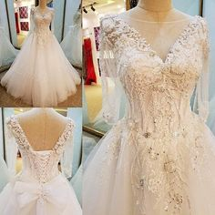 AHW015 New Arrival Long Sleeve Open Back Tulle Train Wedding Dresses with Appliques 2017