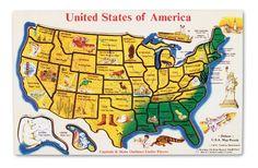 Melissa  Doug USA Map Wooden Puzzle 45 pcs ** Visit the image link more details. (It is Amazon affiliate link) #liker