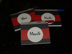 Autograph books for Disney..I made for pennies...pad from staples (has lines on one side of paper - so I turned the book around)..covered with black construction paper, a small piece of Disney paper..printed the kids names with Waltograph font and cut out...add a colored sharpie and we are set for Disney. When you open the book, the paper facing you will be blank (that is for signing) above it will be the lines paper. I plan on taping the picture of my daughter with the character there.