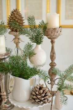 Domestic Fashionista: Natural Christmas Tablescape christmas centerpieces for tables christmas centerpieces for tables Decorations Christmas, Pine Cone Decorations, Christmas Tablescapes, Christmas Centerpieces, Holiday Tablescape, Christmas Vignette, Livingroom Christmas Decor, Holiday Decorating, Decorating Ideas