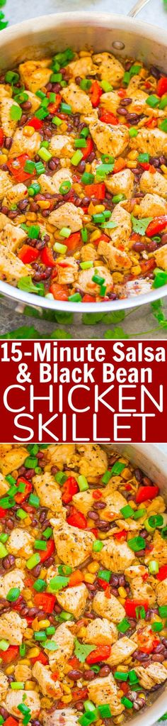 15-Minute Salsa and Black Bean Chicken Skillet - Averie Cooks Mexican Food Recipes, Soup Recipes, Vegetarian Recipes, Chicken Recipes, Dinner Recipes, Cooking Recipes, Healthy Recipes, Skillet Recipes, Dinner Ideas