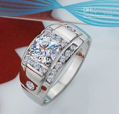 White gold diamond cluster wedding band for him