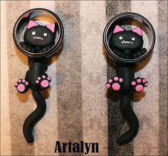 Large gauge Ear Kitty Plugs Available in 1/2 door ArtalynDesigns