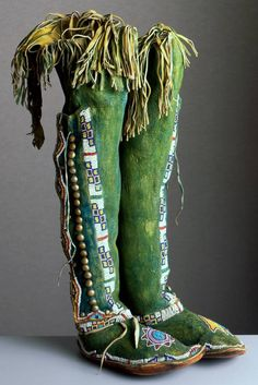 This traditional footwear - made by an unknown Kiowa artist