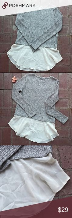 Bar III🎉Chiffon Contrast Textured Sweater! Bar III🎉Chiffon Contrast Textured Sweater! This chic yet effortless top instantly elevates your look! Long sleeve, textured layered look:) Great condition. Bar III Tops