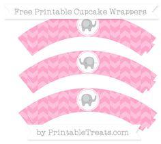Free Carnation Pink Herringbone Pattern Baby Elephant Cupcake Wrappers