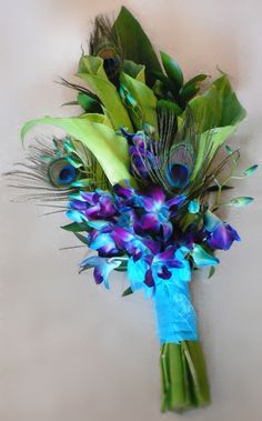 Green Calla Lilies & Blue Dendrobium Orchid w/ Peacock Feather Accents, Pagent Style Bouquet