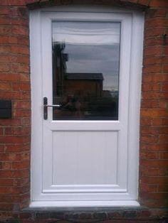 Half Glazed Flat Panel UPVC Back Door from Just Doors UK. Exterior Patio Doors, Doors, Contemporary Front Doors, Glass Extension, External Doors, Door Detail, Back Doors, Beach Living, Upvc