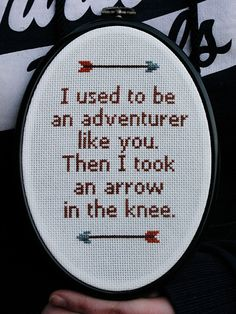 I used to be an adventurer like you - Skyrim cross stitch. £15.50, via Etsy.