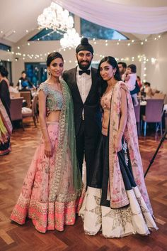 Inderpreet + Simran: A Vintage Fairytale Engagement in Melbourne - exquisite engagement - Anushree Reddy lehenga - Amrapali jewels earrings - pastel pink and green lehenga - black and pink lehenga - brother of the bride - sister of the bride #thecrimsonbride